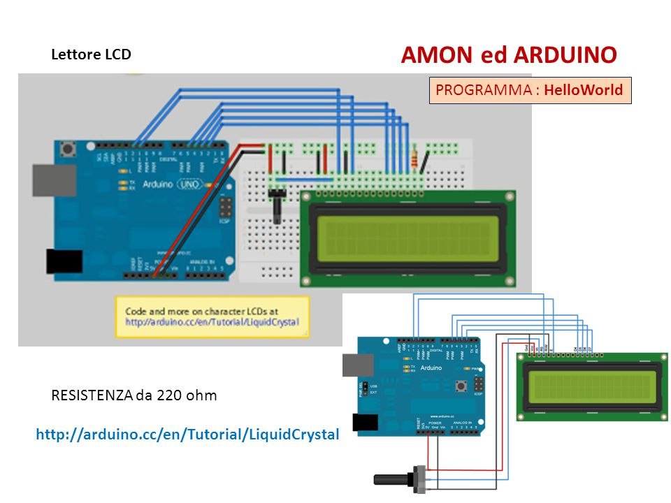 AMON ed ARDUINO Lettore LCD PROGRAMMA : HelloWorld