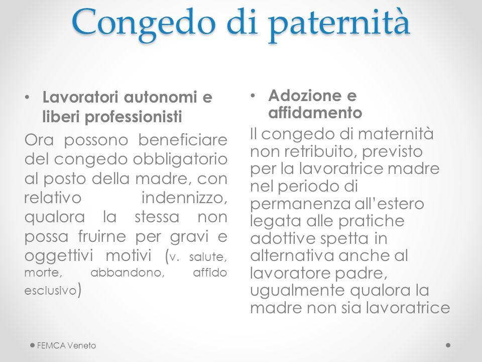 Congedo di paternità Lavoratori autonomi e liberi professionisti