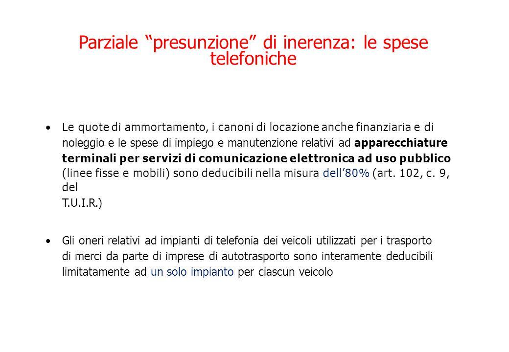 Parziale presunzione di inerenza: le spese telefoniche