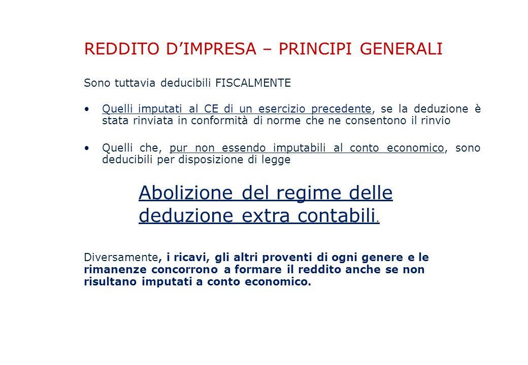 Abolizione del regime delle deduzione extra contabili.