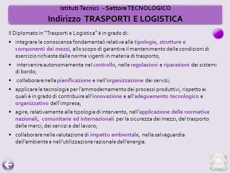 Istituti Tecnici - Settore TECNOLOGICO Indirizzo TRASPORTI E LOGISTICA