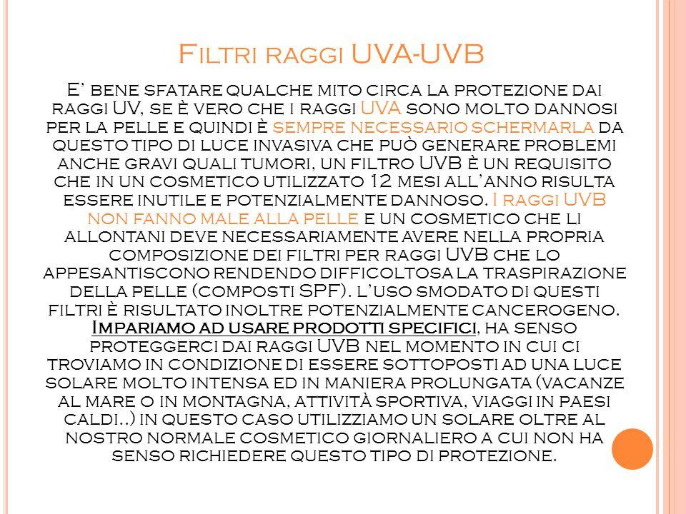 Filtri raggi UVA-UVB