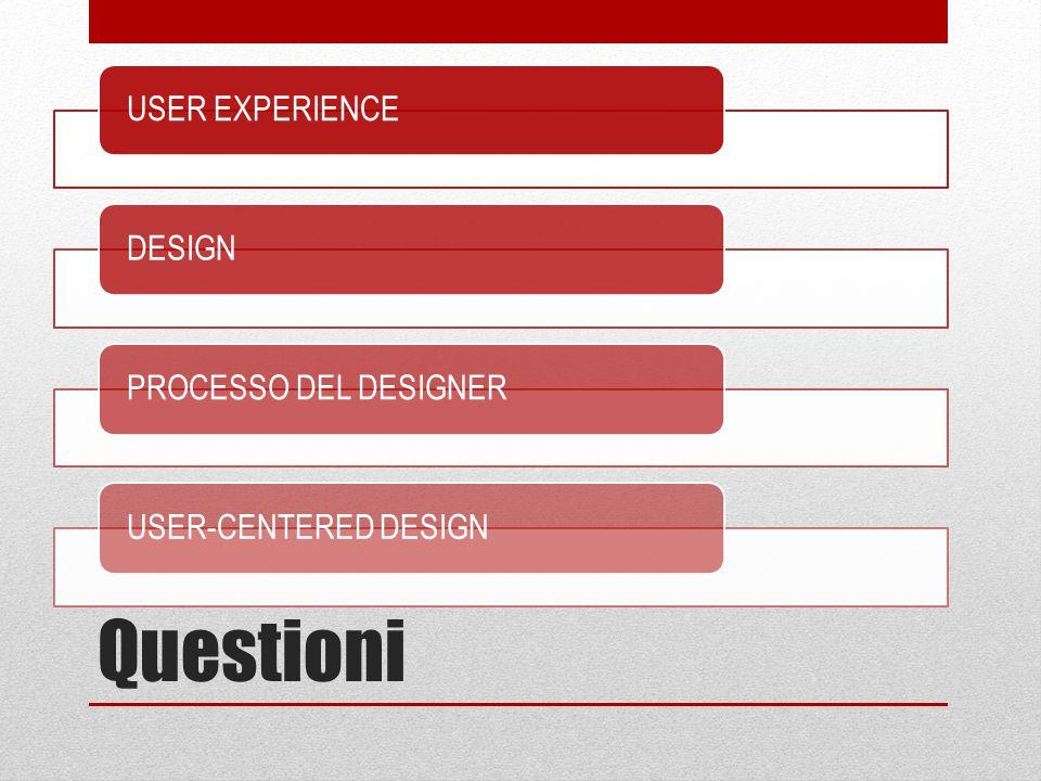 Questioni User Experience DESIGN PROCESSO DEL DESIGNER