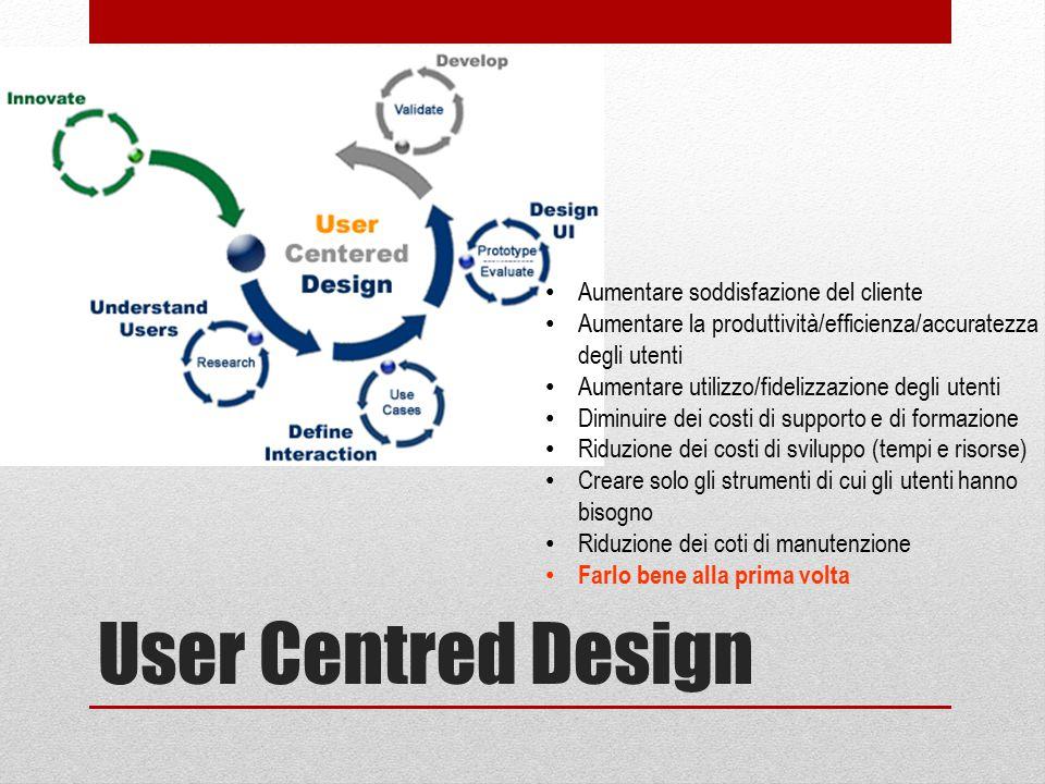 User Centred Design Aumentare soddisfazione del cliente