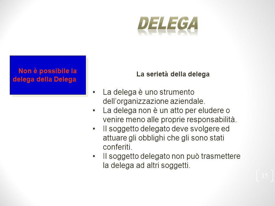 Delega La delega è uno strumento dell'organizzazione aziendale.