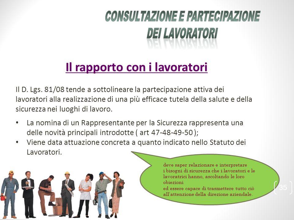 Consultazione e partecipazione Il rapporto con i lavoratori