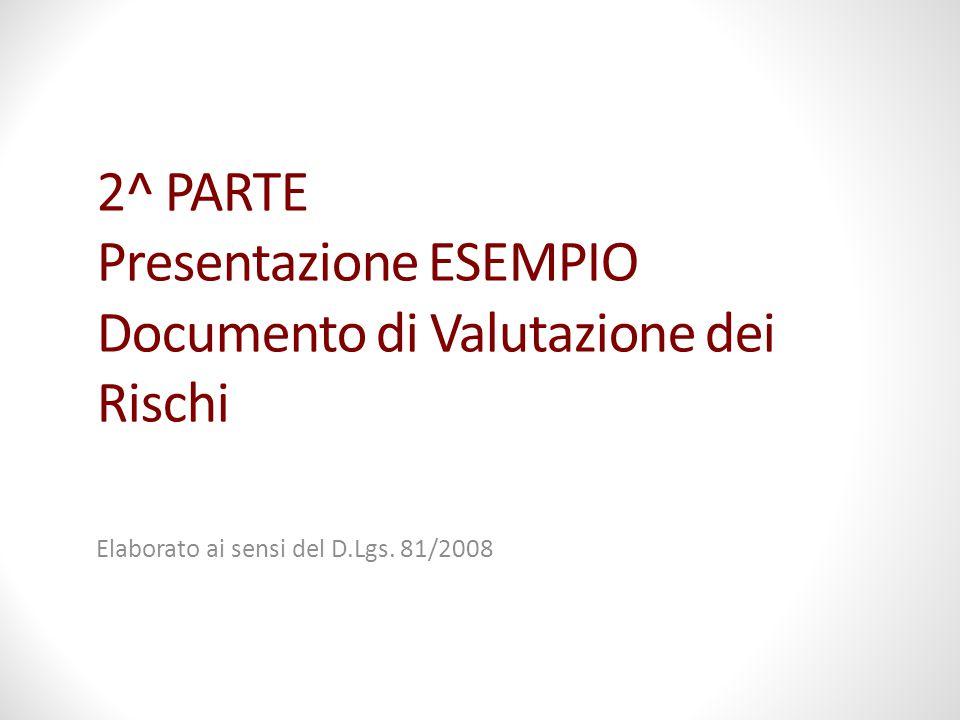 2^ PARTE Presentazione ESEMPIO Documento di Valutazione dei Rischi