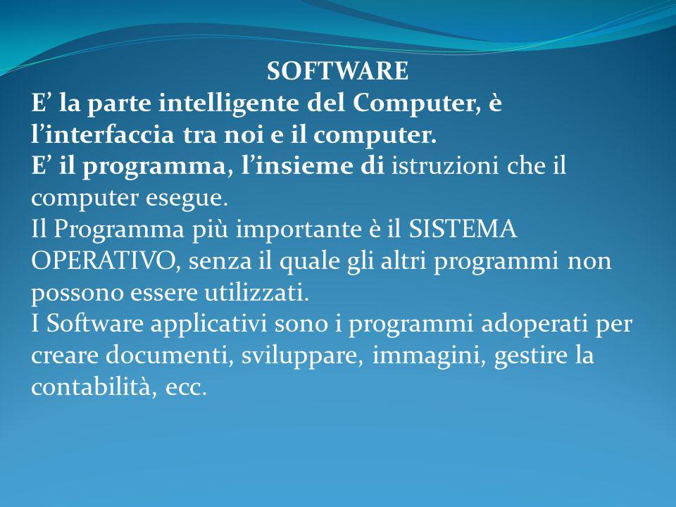 SOFTWARE E' la parte intelligente del Computer, è l'interfaccia tra noi e il computer.