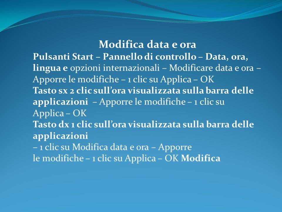 Modifica data e ora Pulsanti Start – Pannello di controllo – Data, ora, lingua e opzioni internazionali – Modificare data e ora –