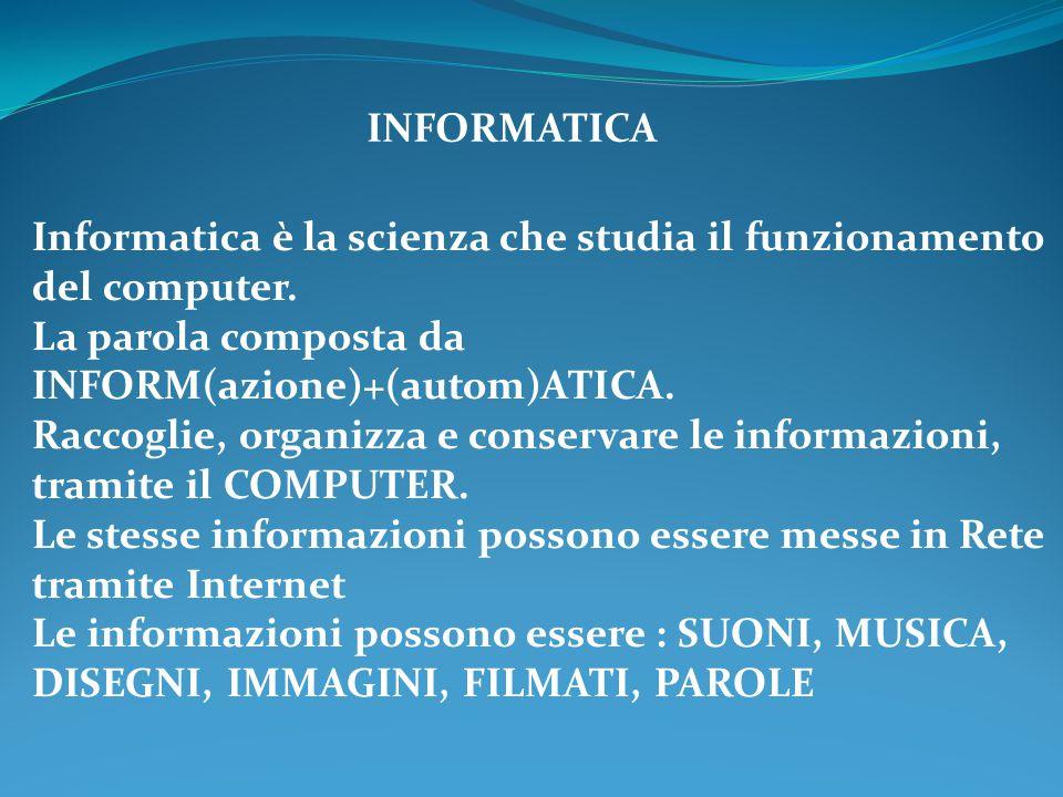 INFORMATICA Informatica è la scienza che studia il funzionamento del computer. La parola composta da INFORM(azione)+(autom)ATICA.