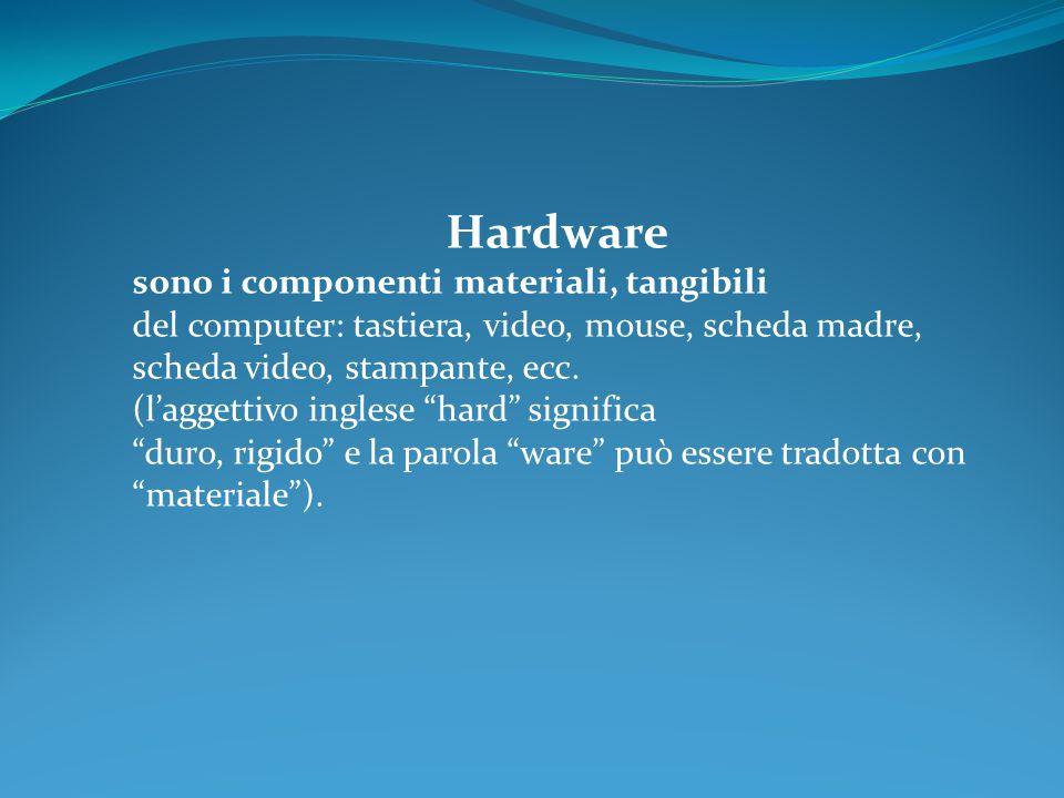 Hardware sono i componenti materiali, tangibili