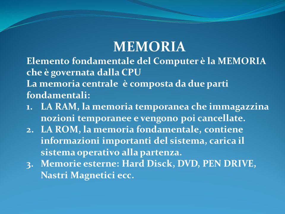 MEMORIA Elemento fondamentale del Computer è la MEMORIA che è governata dalla CPU. La memoria centrale è composta da due parti fondamentali: