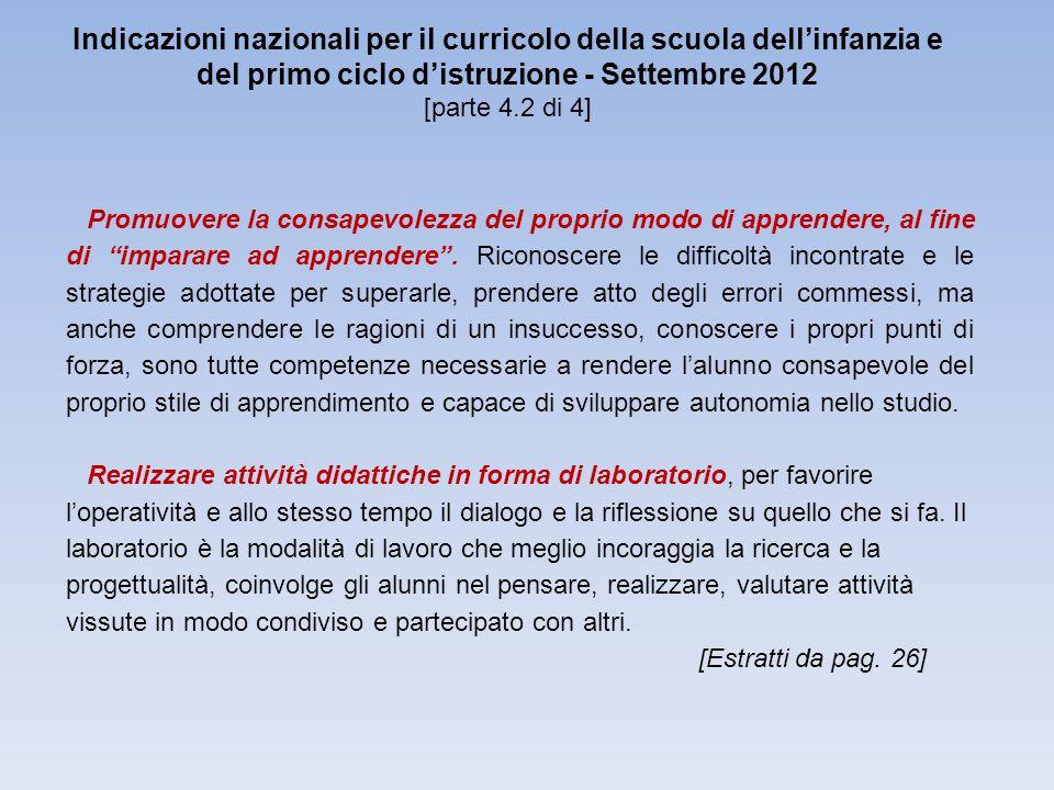 Indicazioni nazionali per il curricolo della scuola dell'infanzia e del primo ciclo d'istruzione - Settembre 2012