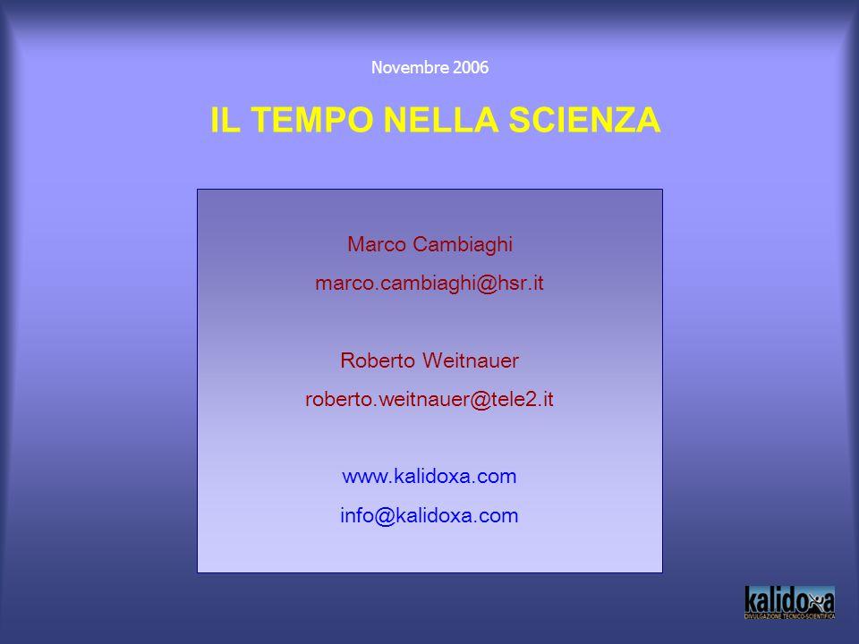 IL TEMPO NELLA SCIENZA Marco Cambiaghi marco.cambiaghi@hsr.it
