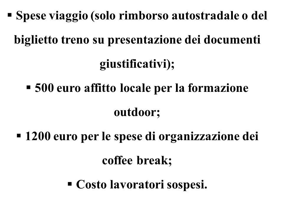 500 euro affitto locale per la formazione outdoor;