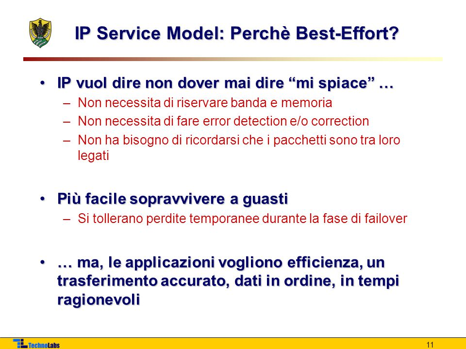 IP Service Model: Perchè Best-Effort