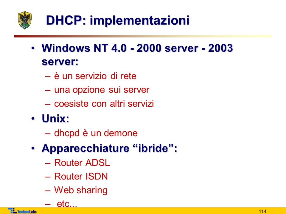 DHCP: implementazioni