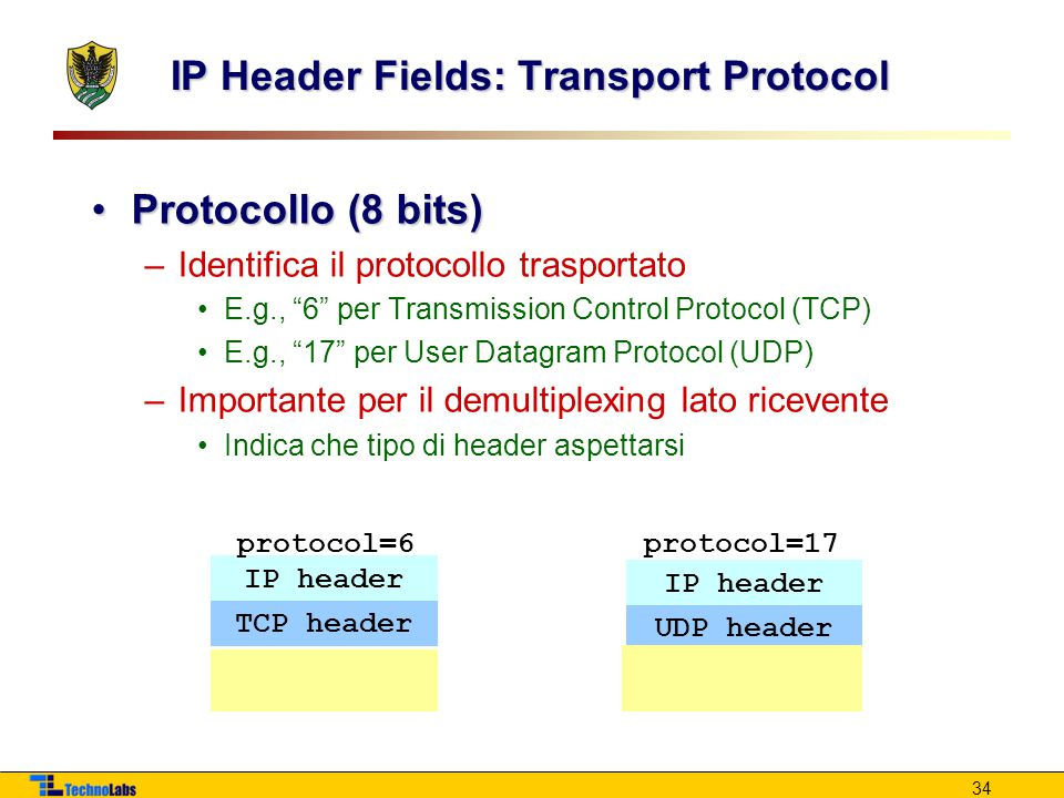 IP Header Fields: Transport Protocol