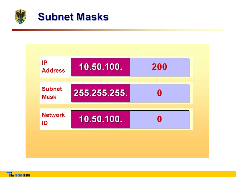 Subnet Masks IP. Address. 10.50. 100.200. Subnet. Mask. 255.255. 0.0. Network. ID. IP. Address.