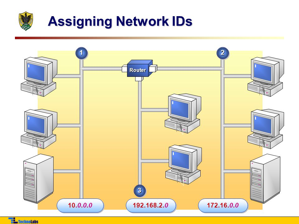 Assigning Network IDs 1 2 Router 3 10.0.0.0 192.168.2.0 172.16.0.0