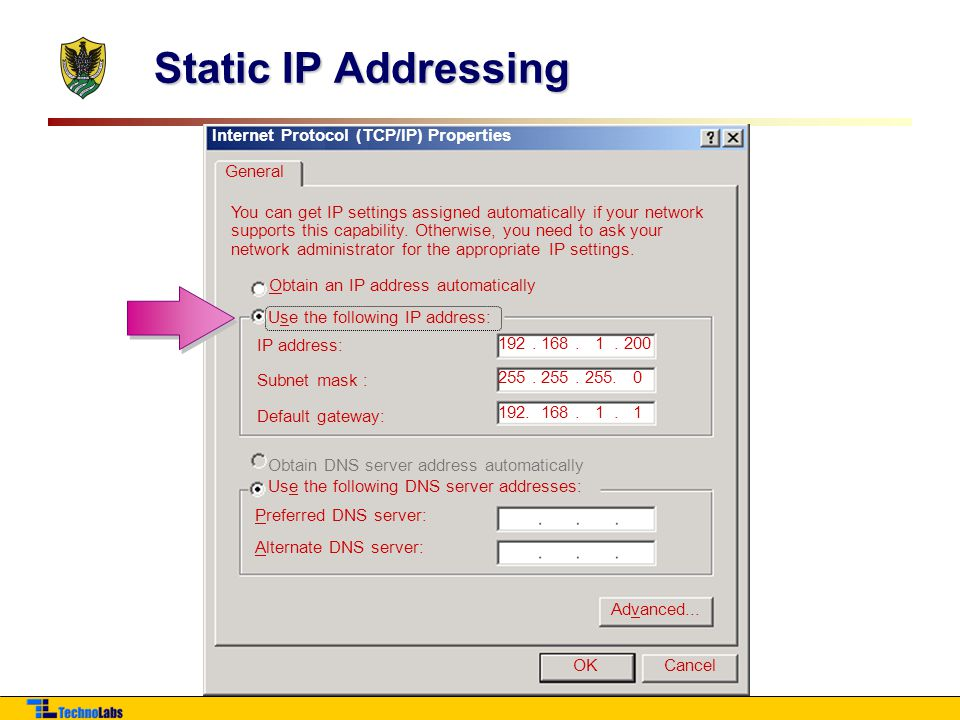Static IP Addressing Internet Protocol (TCP/IP) Properties General