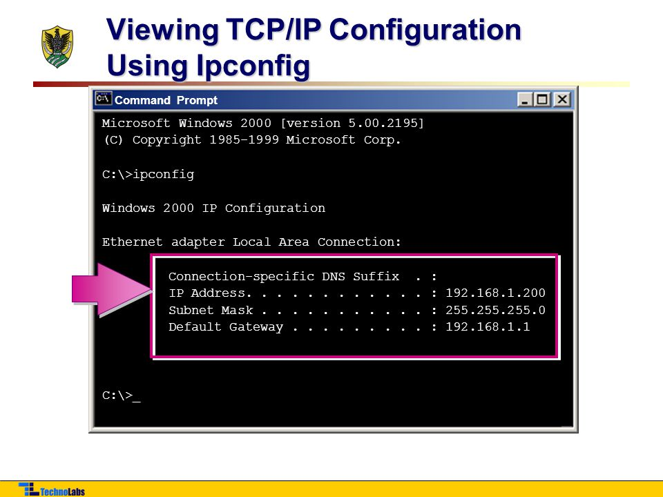 Viewing TCP/IP Configuration Using Ipconfig