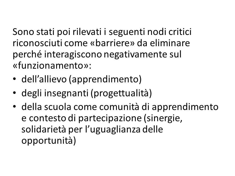 Sono stati poi rilevati i seguenti nodi critici riconosciuti come «barriere» da eliminare perché interagiscono negativamente sul «funzionamento»: