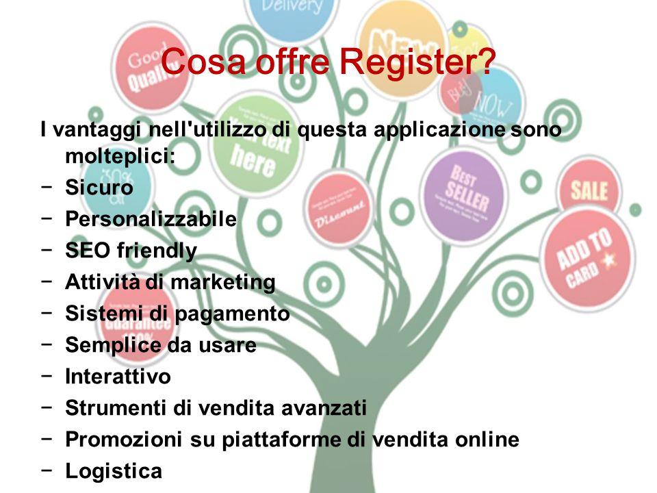 Cosa offre Register I vantaggi nell utilizzo di questa applicazione sono molteplici: Sicuro. Personalizzabile.