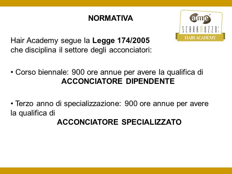 NORMATIVA Hair Academy segue la Legge 174/2005 che disciplina il settore degli acconciatori: