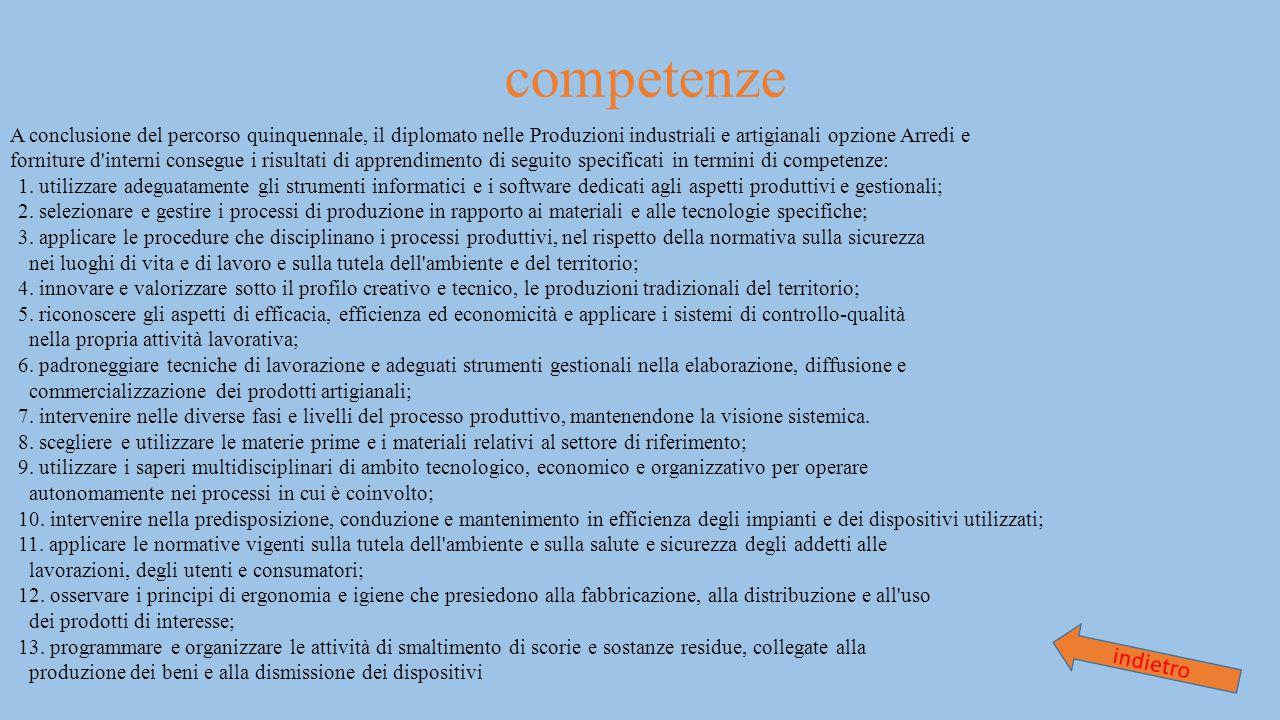 competenze A conclusione del percorso quinquennale, il diplomato nelle Produzioni industriali e artigianali opzione Arredi e.