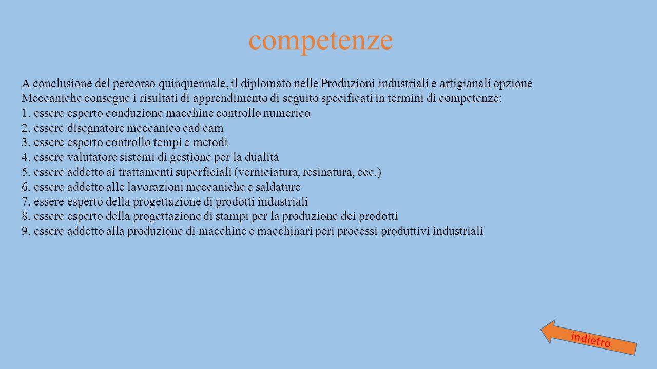 competenze A conclusione del percorso quinquennale, il diplomato nelle Produzioni industriali e artigianali opzione.