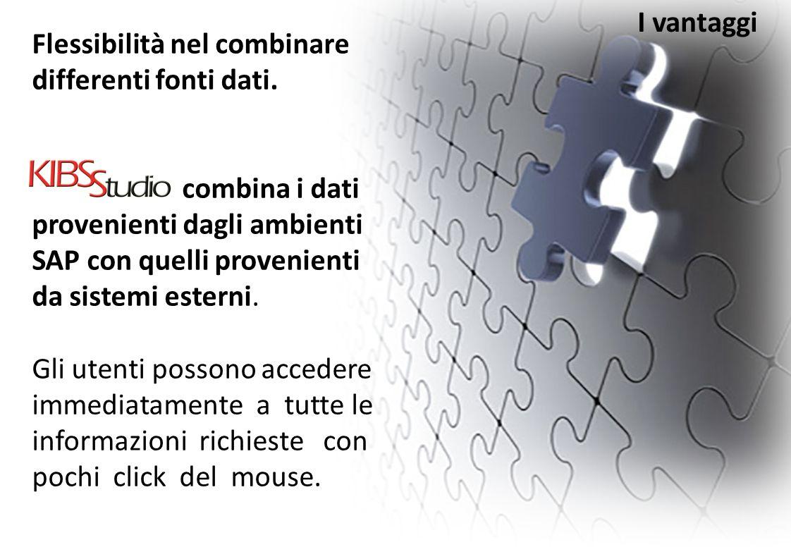 I vantaggi Flessibilità nel combinare differenti fonti dati.