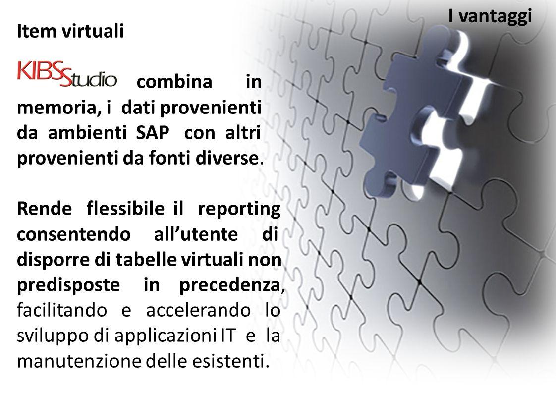 I vantaggi Item virtuali. combina in memoria, i dati provenienti. da ambienti SAP con altri provenienti da fonti diverse.
