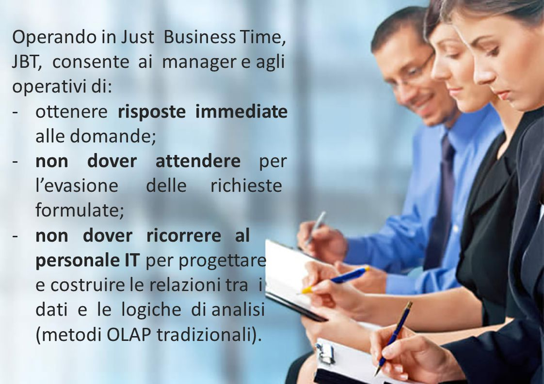 Operando in Just Business Time, JBT, consente ai manager e agli operativi di: