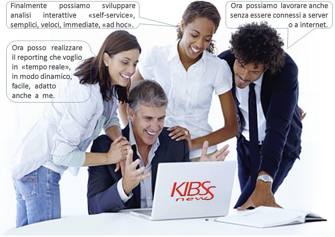 Finalmente possiamo sviluppare analisi interattive «self-service», semplici, veloci, immediate, «ad hoc».