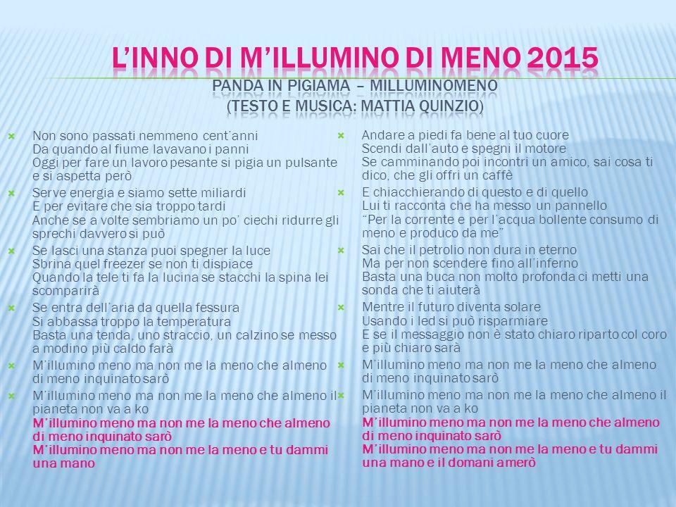 l'INNO DI M'ILLUMINO DI MENO 2015 Panda in Pigiama – MilluMinoMeno (testo e musica: Mattia Quinzio)