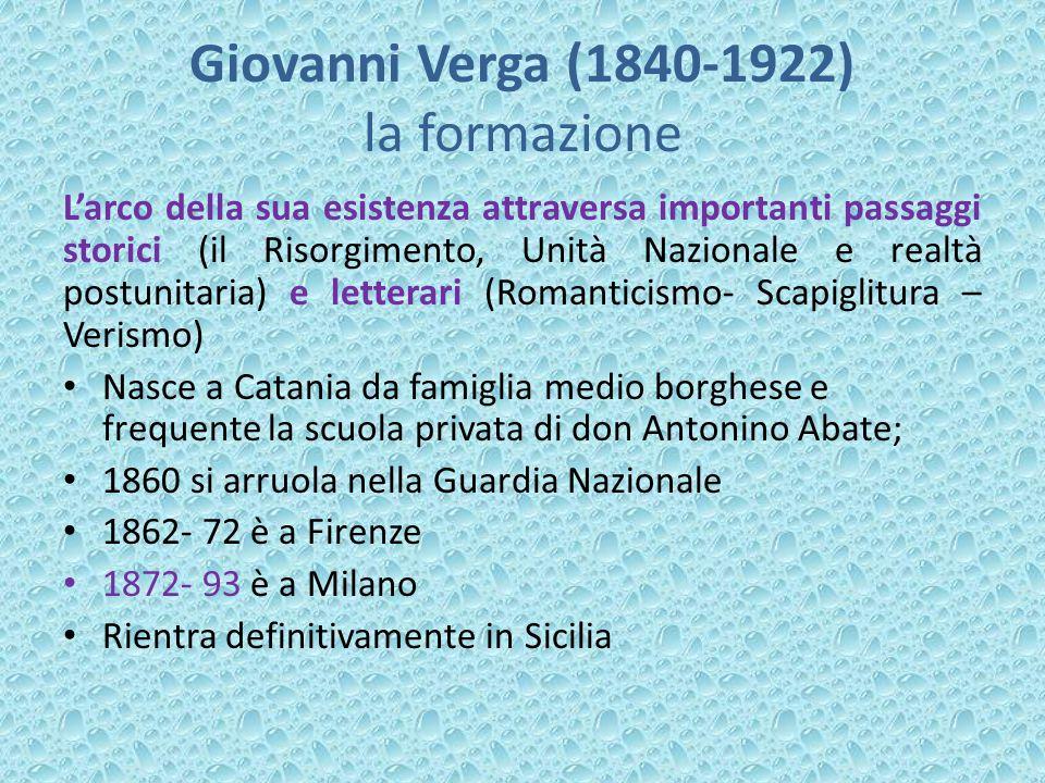 Giovanni Verga (1840-1922) la formazione