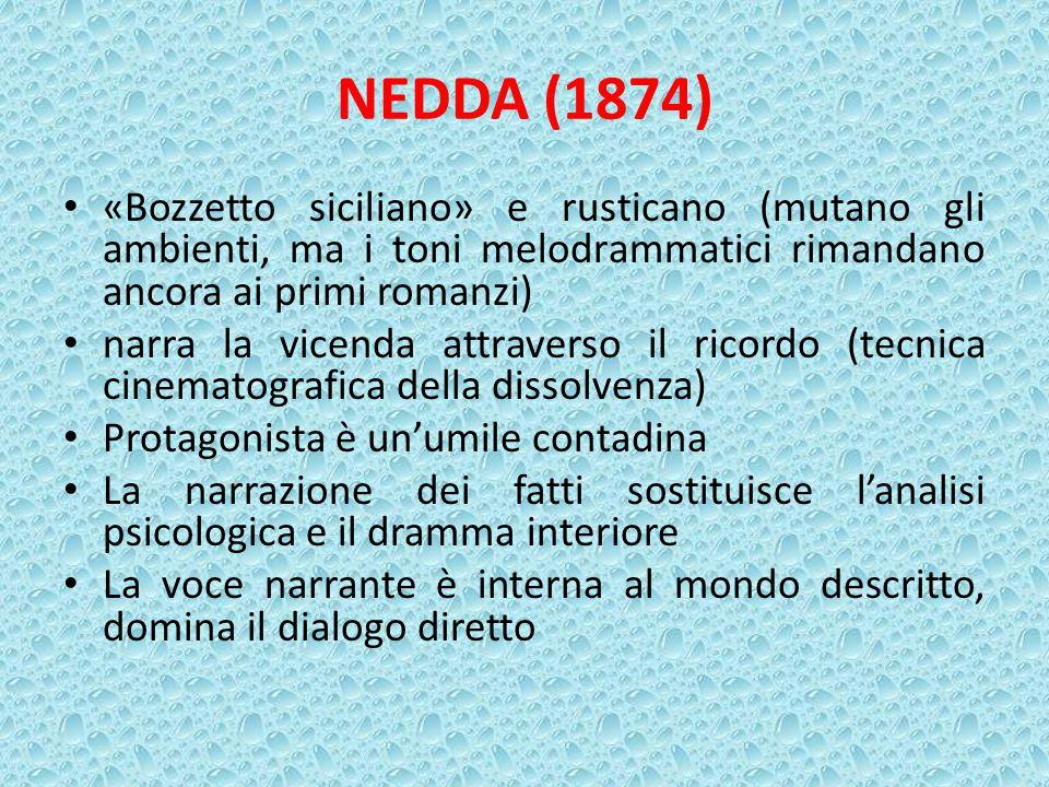 NEDDA (1874) «Bozzetto siciliano» e rusticano (mutano gli ambienti, ma i toni melodrammatici rimandano ancora ai primi romanzi)