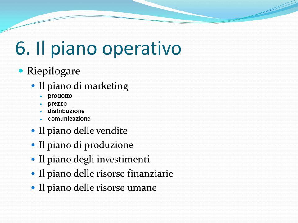 6. Il piano operativo Riepilogare Il piano di marketing