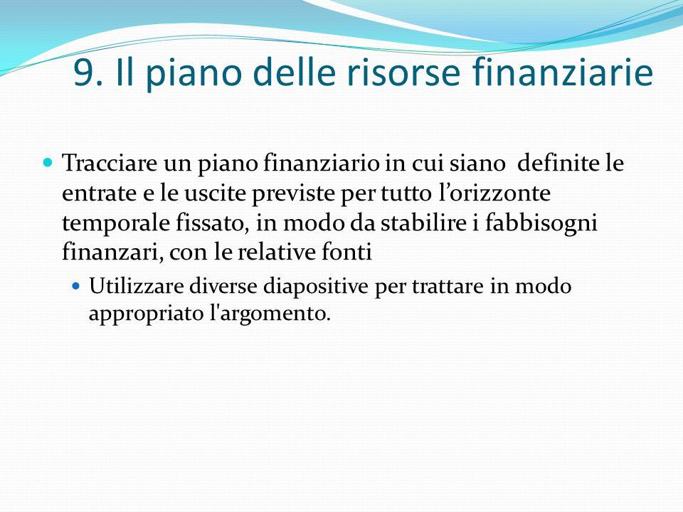 9. Il piano delle risorse finanziarie