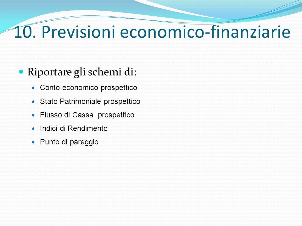 10. Previsioni economico-finanziarie