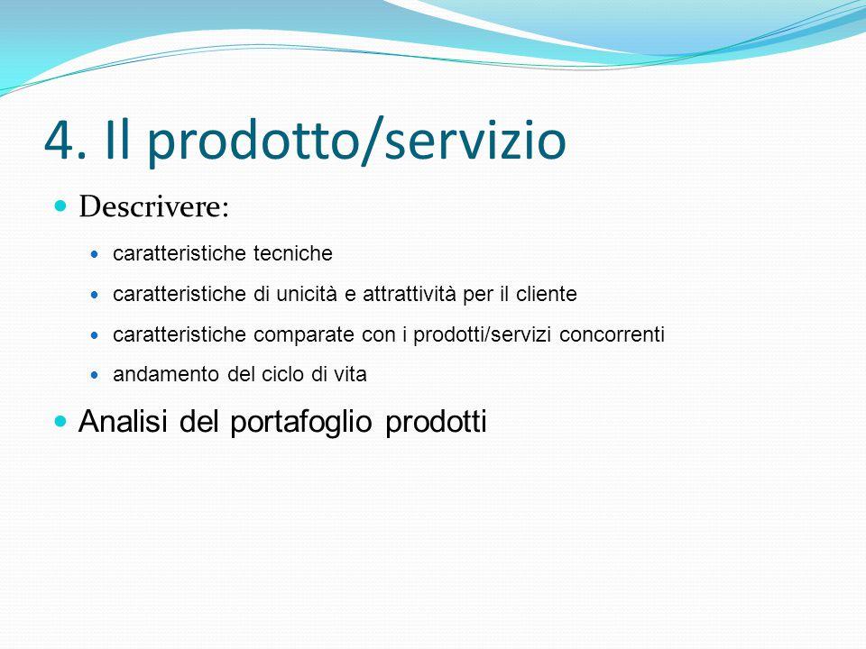 4. Il prodotto/servizio Descrivere: Analisi del portafoglio prodotti