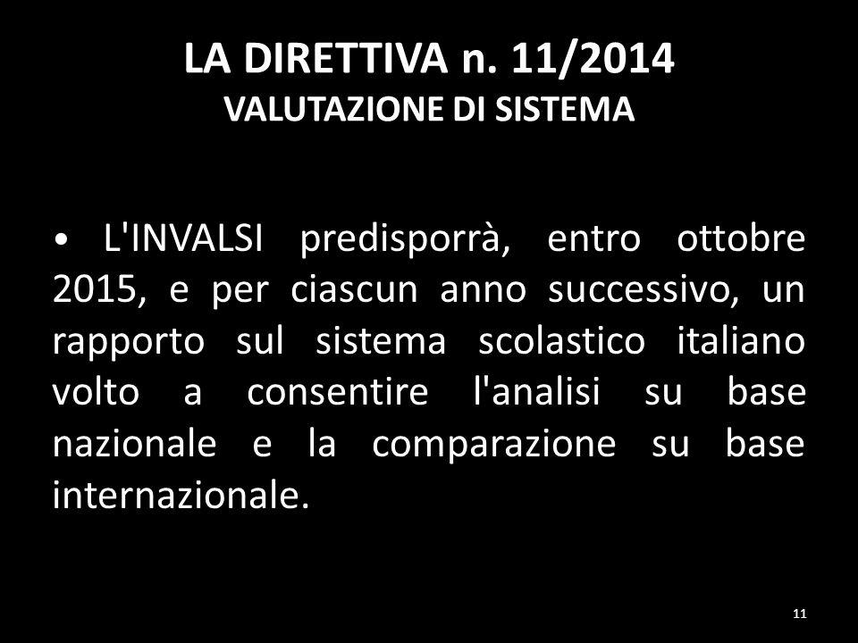 LA DIRETTIVA n. 11/2014 VALUTAZIONE DI SISTEMA