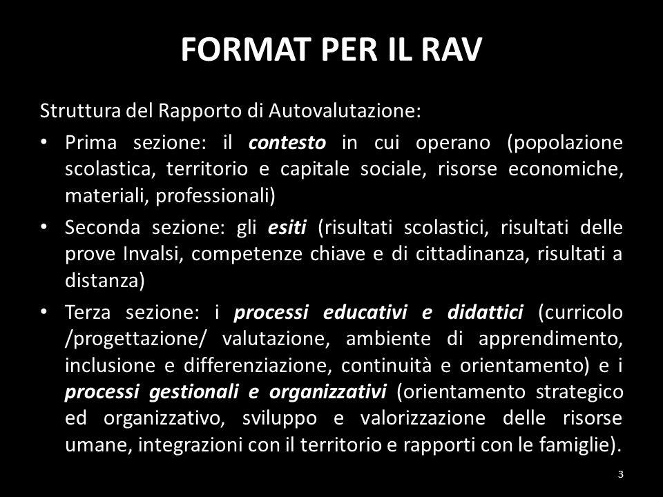 FORMAT PER IL RAV Struttura del Rapporto di Autovalutazione: