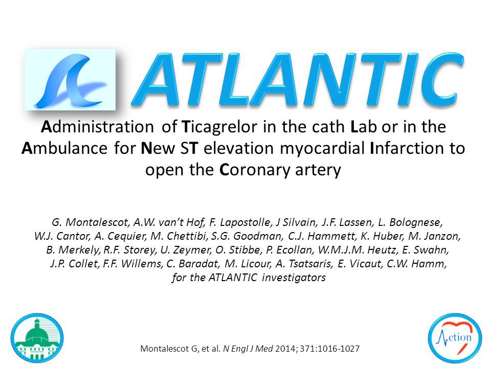 Administration of Ticagrelor in the cath Lab or in the Ambulance for New ST elevation myocardial Infarction to open the Coronary artery