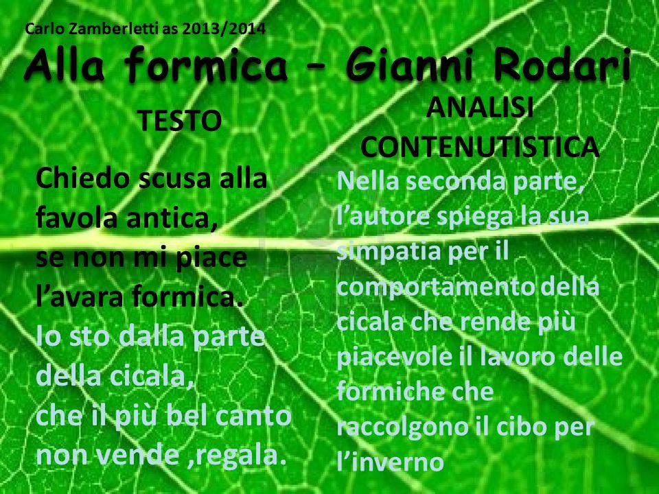 Alla formica – Gianni Rodari ANALISI CONTENUTISTICA