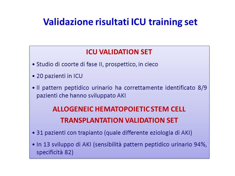 Validazione risultati ICU training set