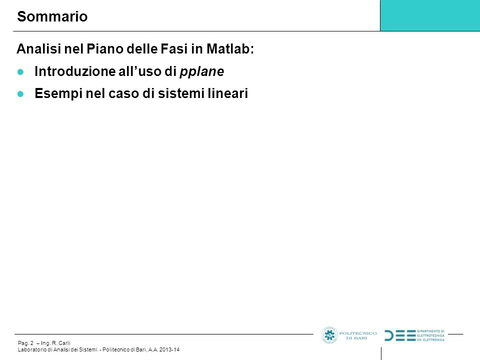 Sommario Analisi nel Piano delle Fasi in Matlab: