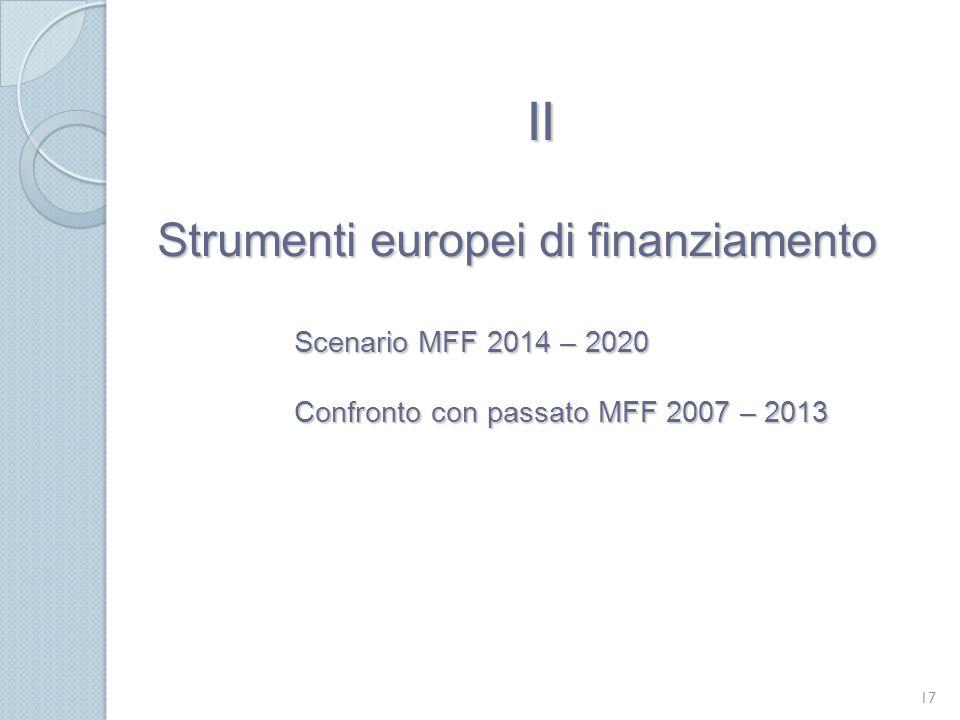II Strumenti europei di finanziamento Scenario MFF 2014 – 2020 Confronto con passato MFF 2007 – 2013.