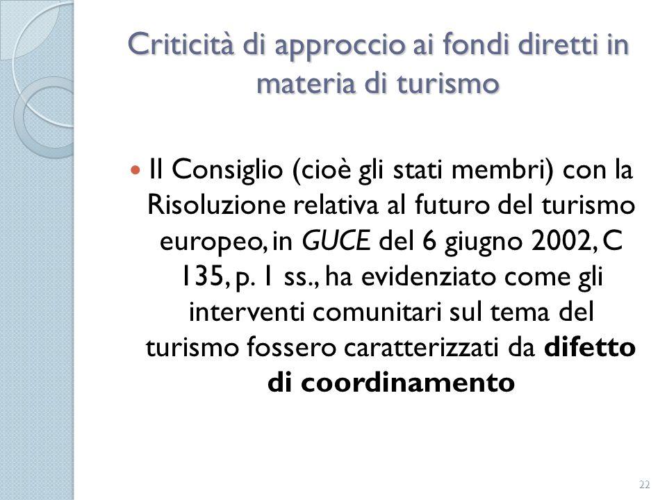Criticità di approccio ai fondi diretti in materia di turismo